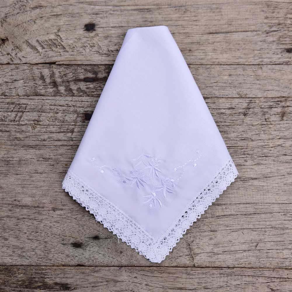 Pack of 3 White Rose Embroidered Hankies
