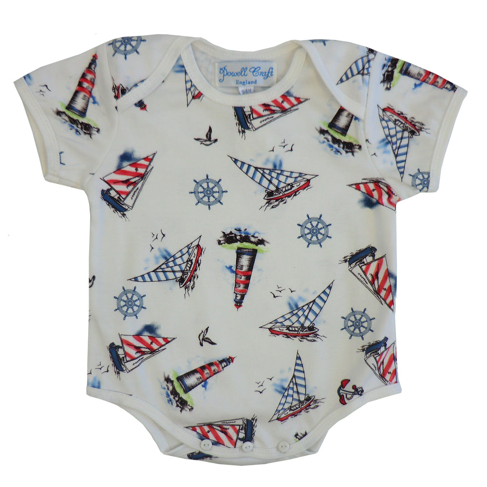 Nautical Print Baby Grow