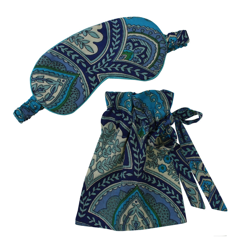 Blue Paisley Eye Mask
