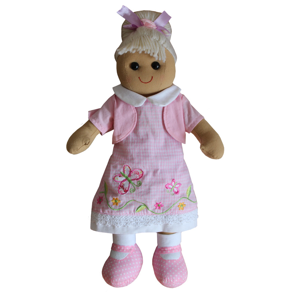 Pink Butterfly Dress 40cm Rag Doll
