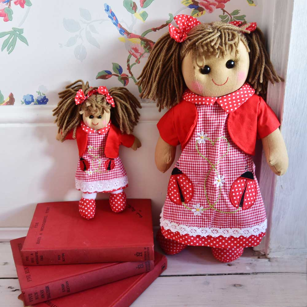 Rag Doll with Ladybird Print Dress 40cm
