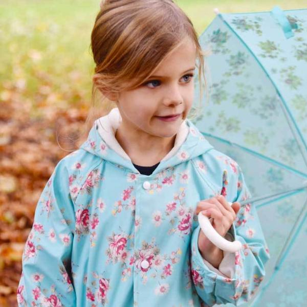 Blue Floral Raincoat