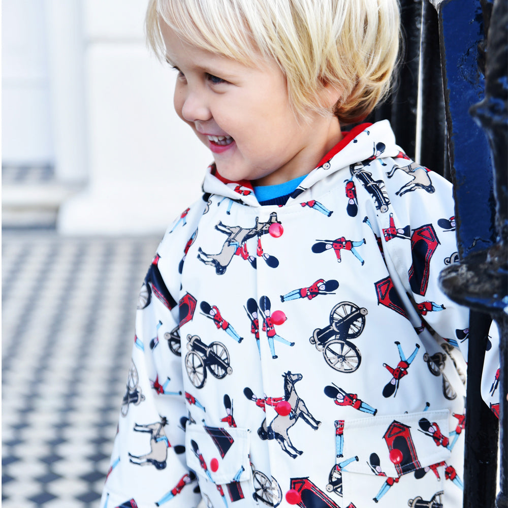 Horse and Guard Print Hooded Rain Coat