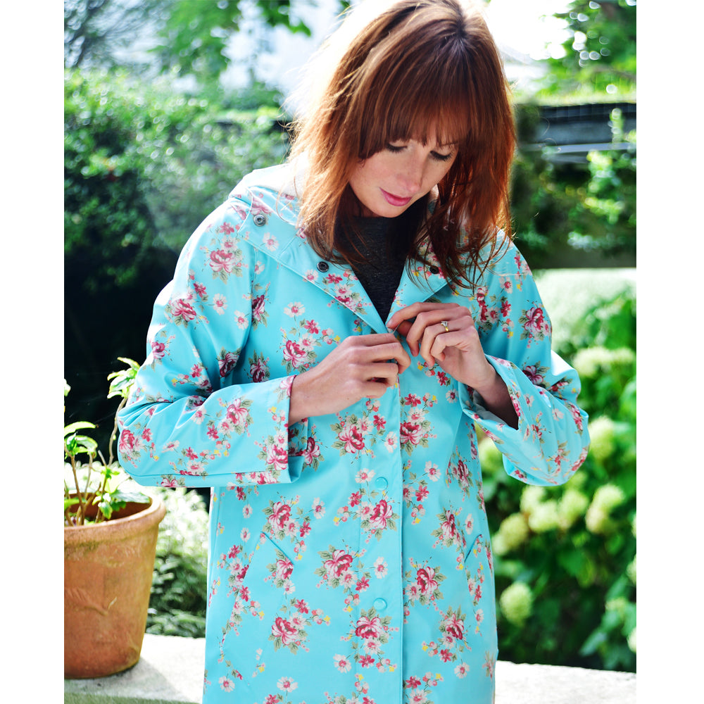 Ladies Blue Floral Raincoat