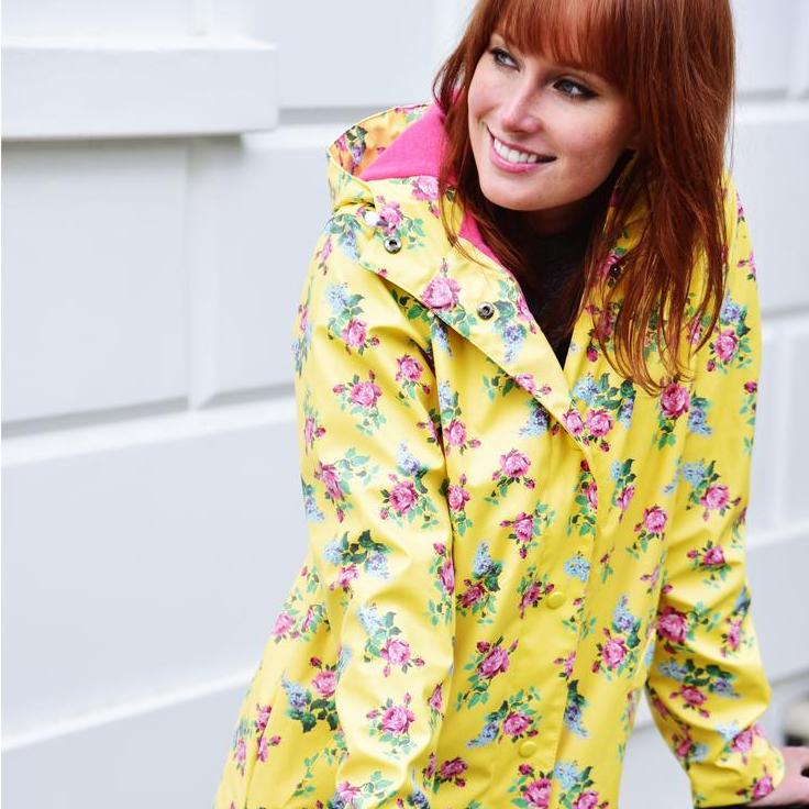 Ladies Lemon Floral Raincoat