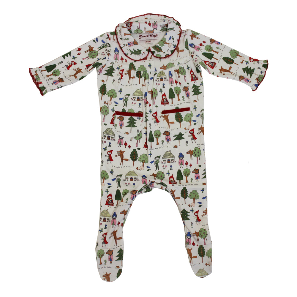 red riding hood print baby jumpsuit by powell craft