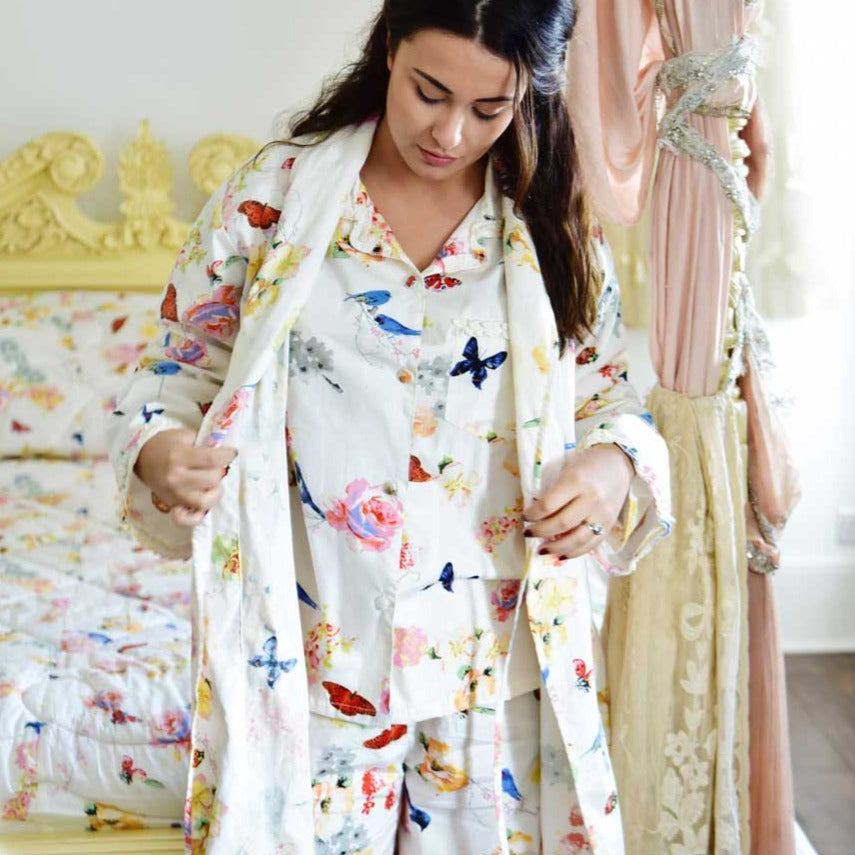 Ladies Secret Garden Print Dressing Gown