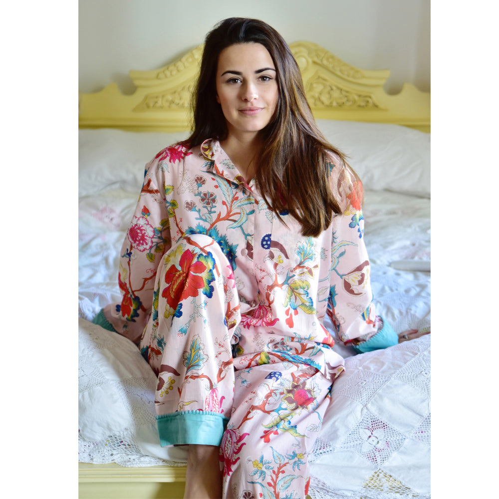 Pink Floral Ladies Pyjamas