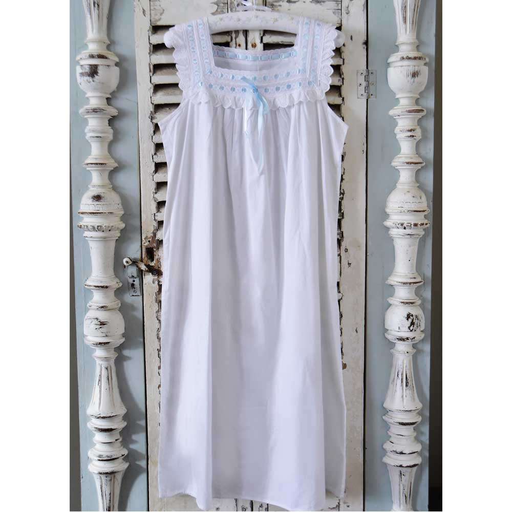 Amanda ladies nightdress with blue ribbon detail by powell craft