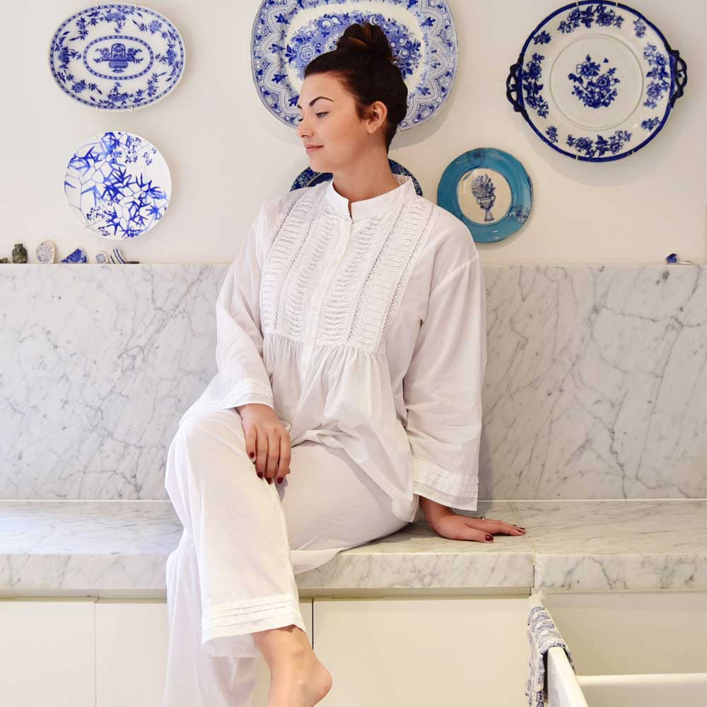 luxury ladies white pyjamas with mandarin collar from powell craft