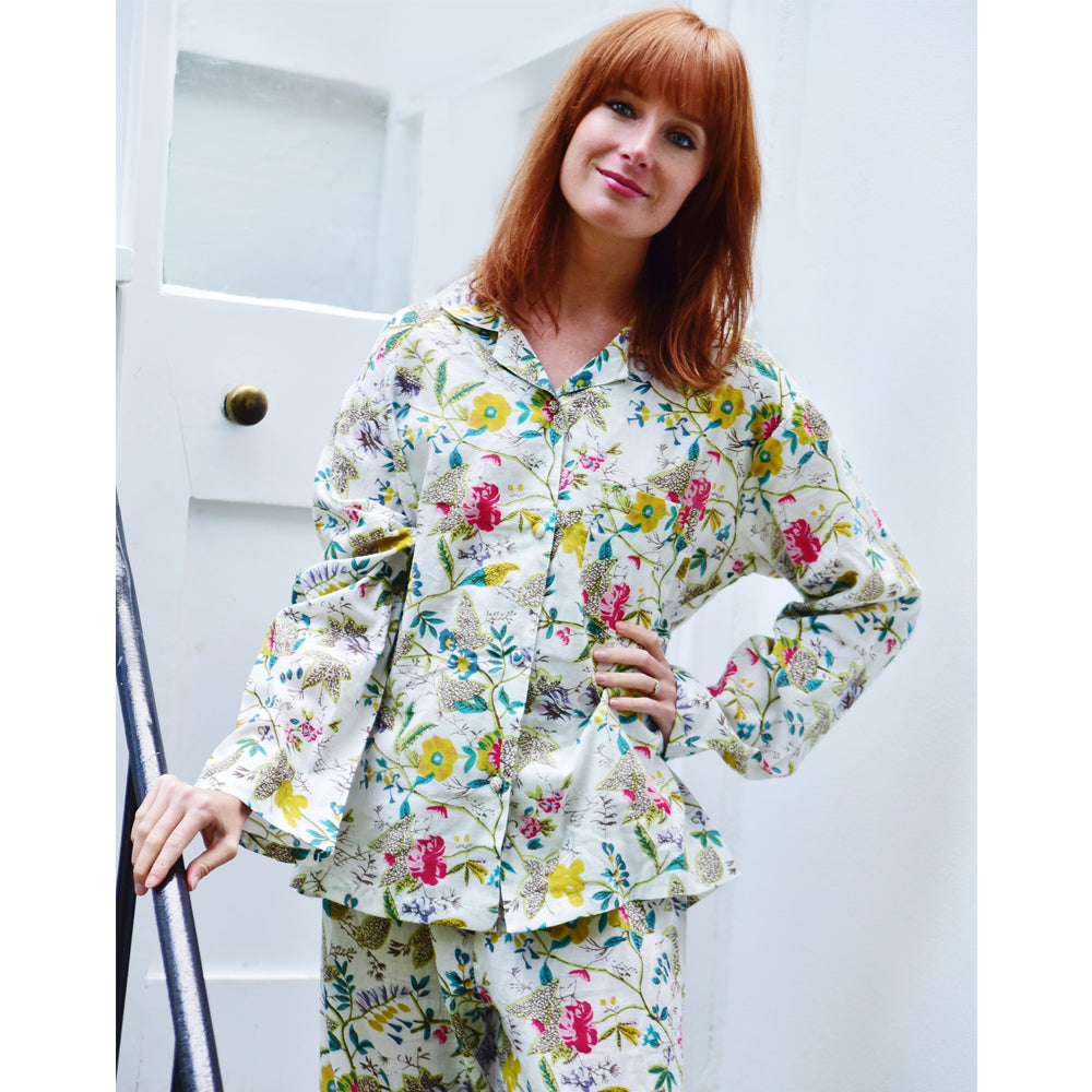 Ladies White Leaf Floral Pyjamas
