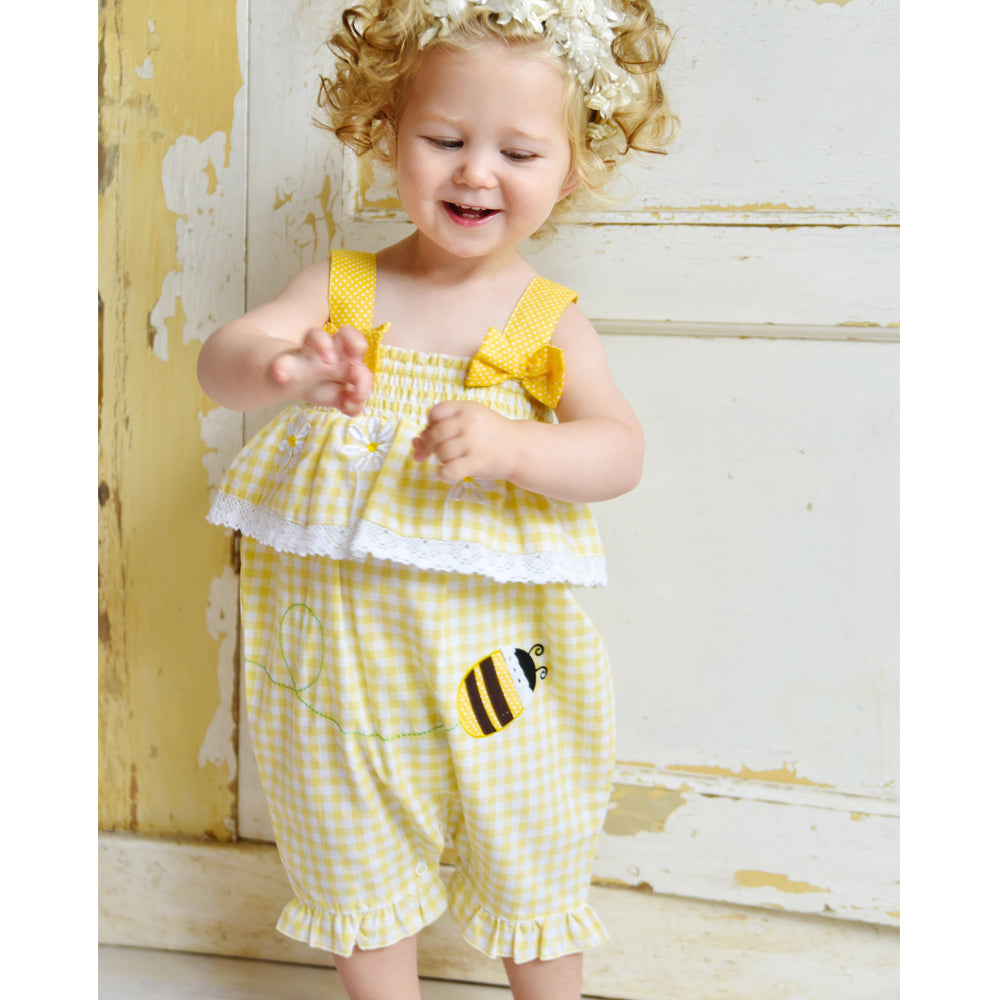 Yellow Checked Bumble Bee Romper