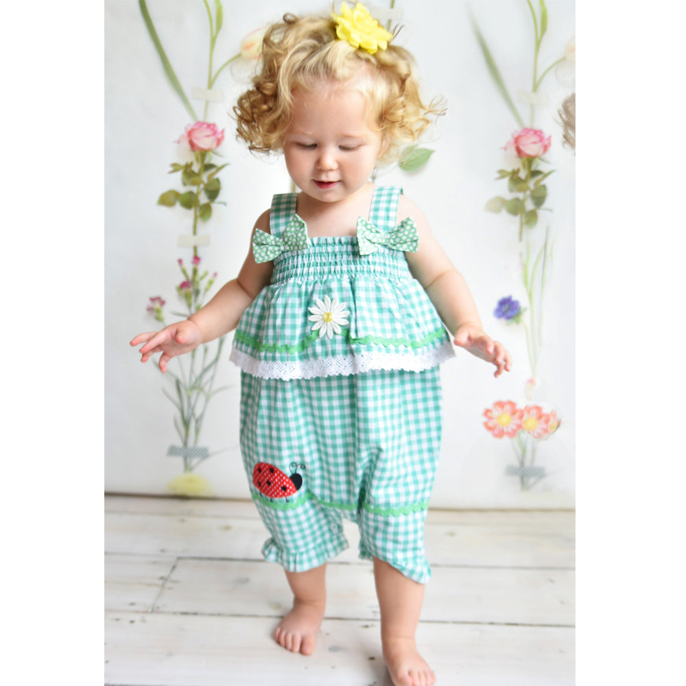 Green Checked Ladybird Romper