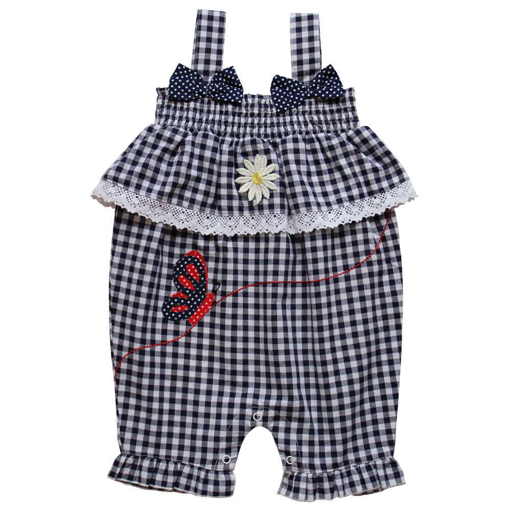 Blue Checked Butterfly Romper