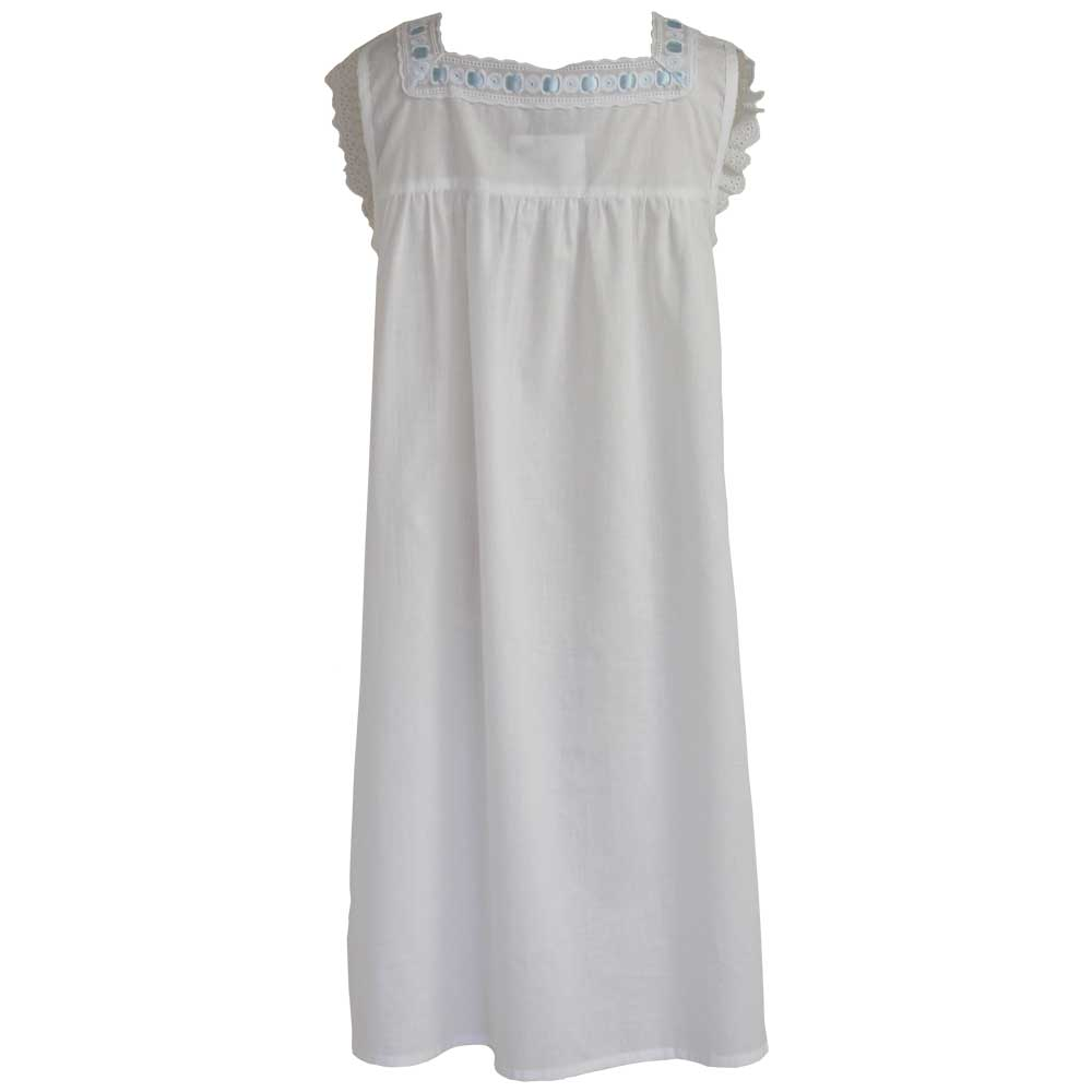 faye girls nightdress with blue ribbon by powell craft