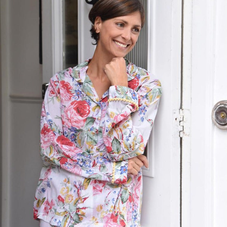 Floral Pom Pom Ladies Pyjamas
