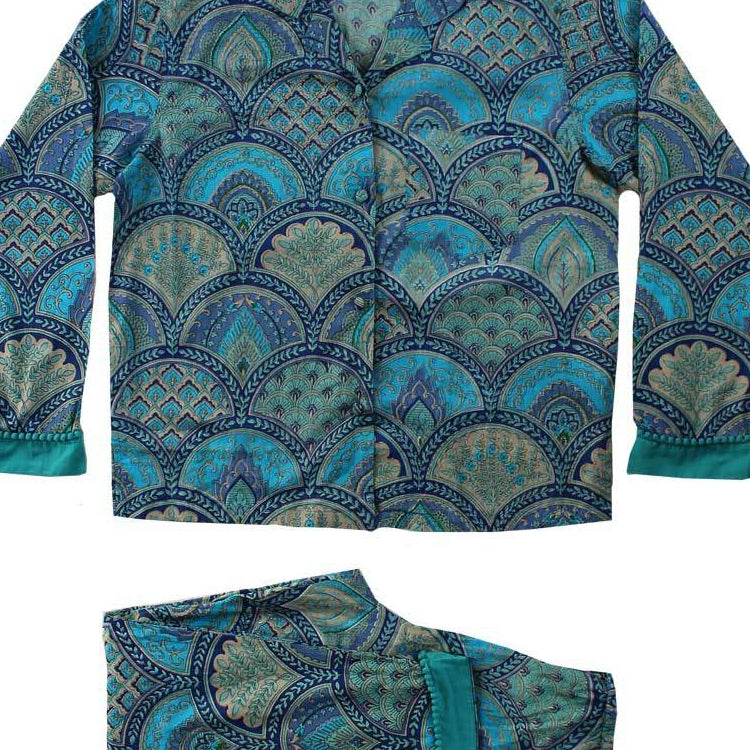 Ladies Paisley Blue Pyjamas
