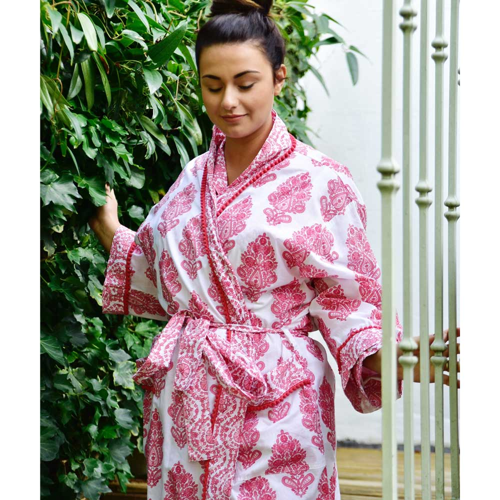 Ladies Pink Paisley Dressing Gown