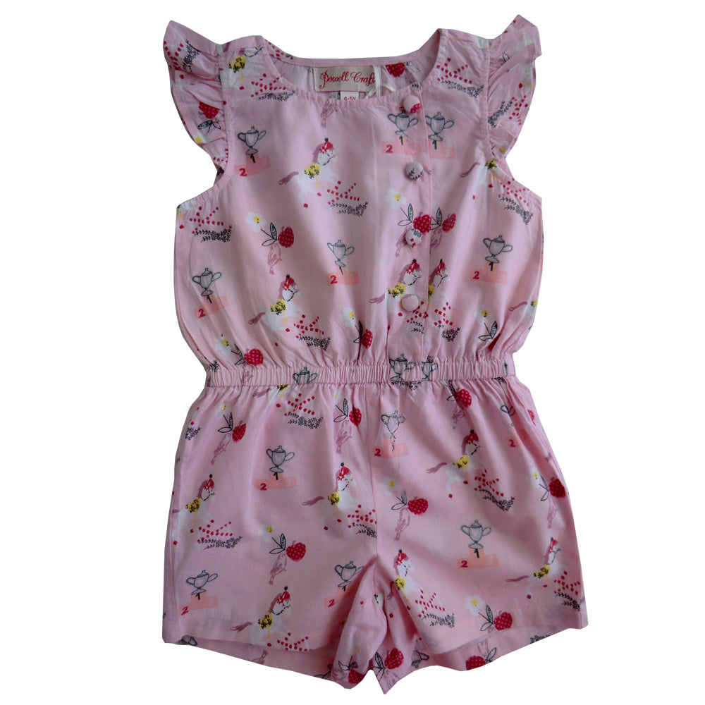 Girls Pony Printed Capped Sleeve Playsuit