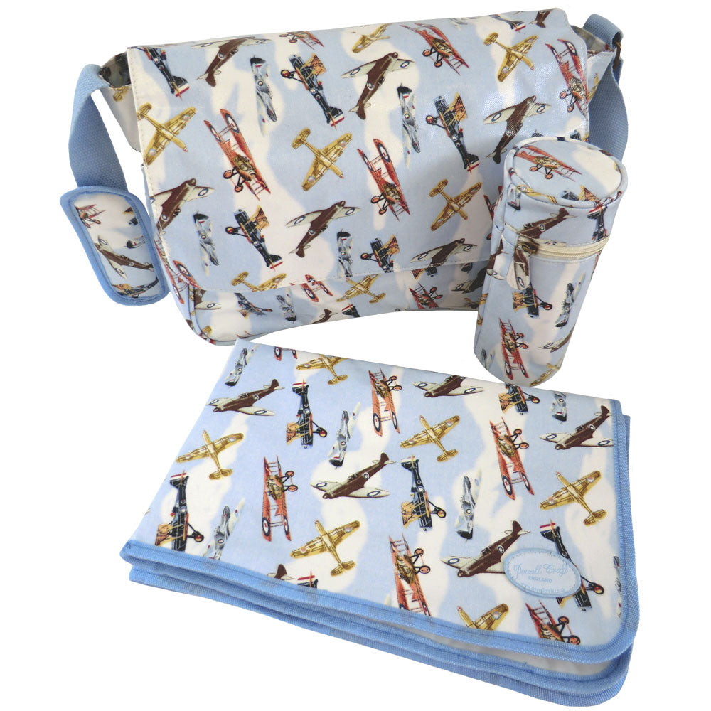 Vintage Plane Oilcloth Luxury Changing Bag