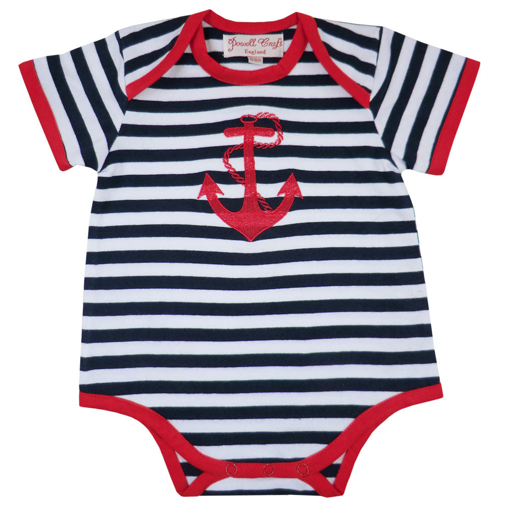 Nautical Striped Anchor Baby Grow
