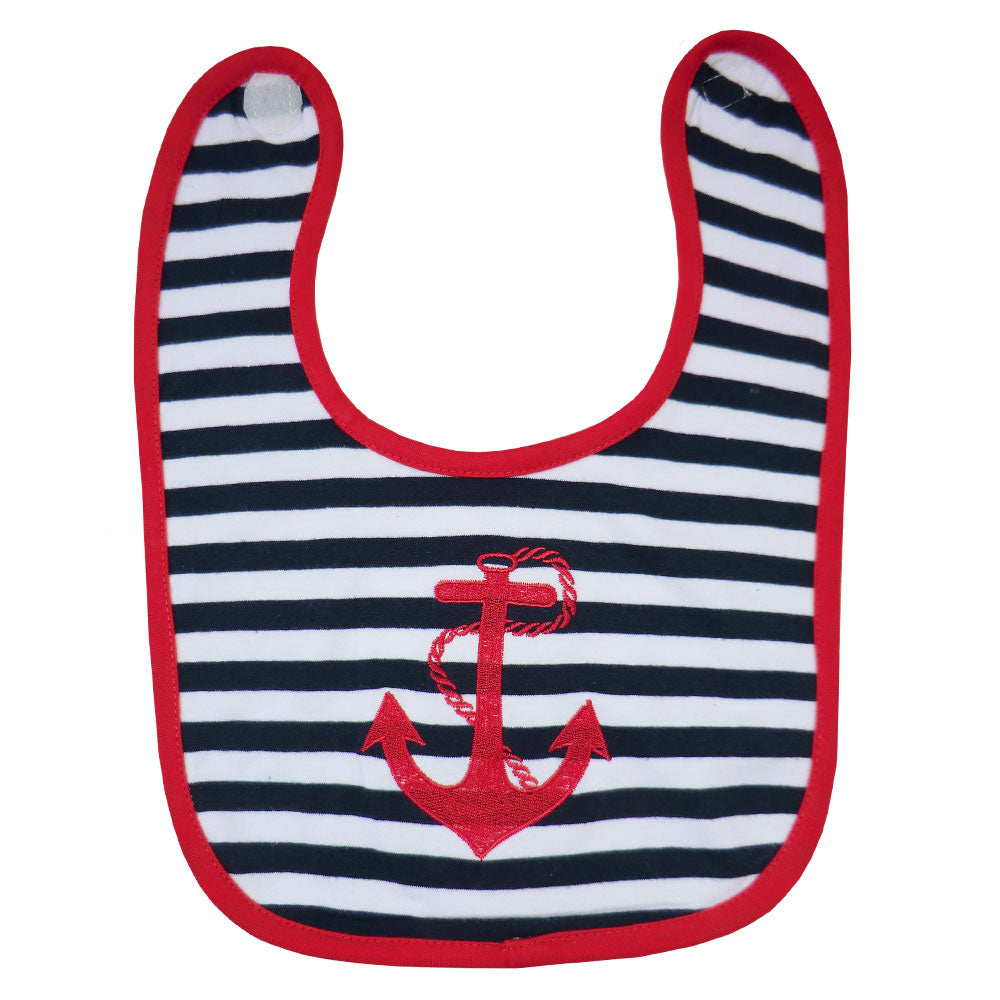 Nautical Striped Anchor Bib