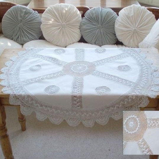 Round Cotton/Linen Crochet Tablecloth