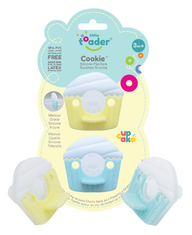 Solid Silicone Cupcake Cookie Pacifiers by Little Toader