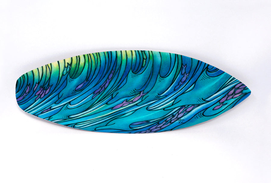 Waves of Dolphin Surfboard Wall Art