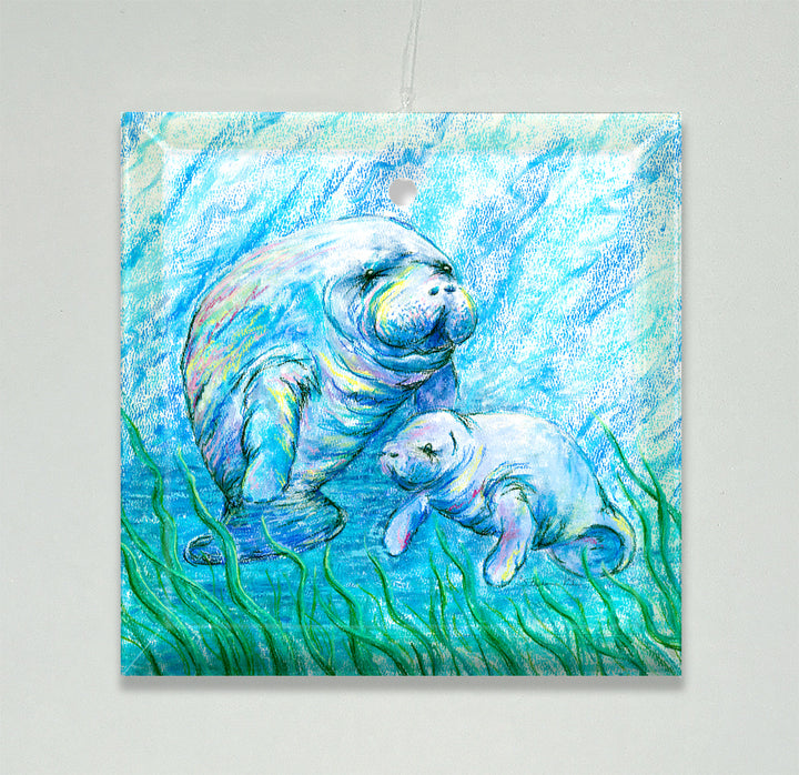 Manatees in Grass Ornament/Suncatcher