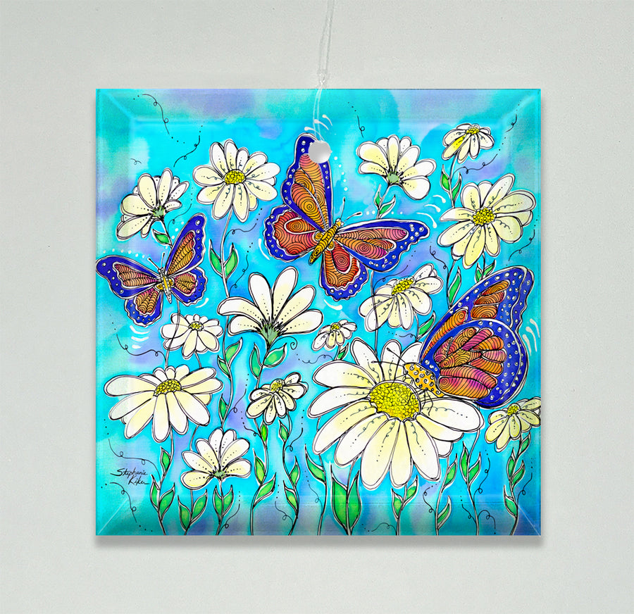 Butterflies on Daisies Ornament/Suncatcher