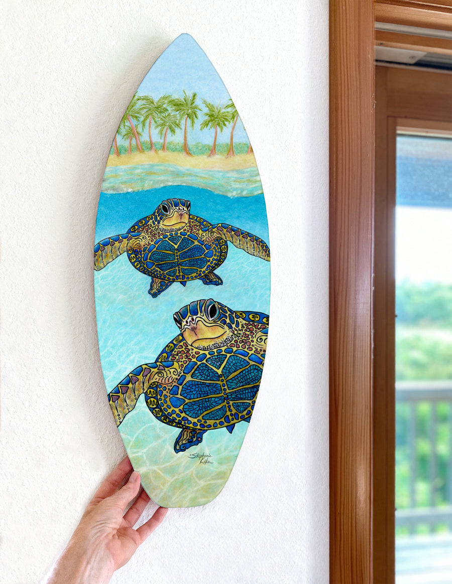 2 Turtle Paradise Surfboard Wall Art