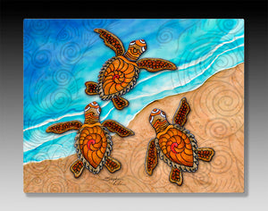 3 Baby Turtles Aluminum Wall Art