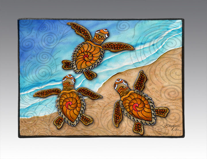 3 Baby Turtles Door Mat