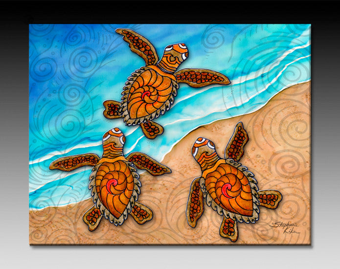 3 Baby Turtles Ceramic Tile