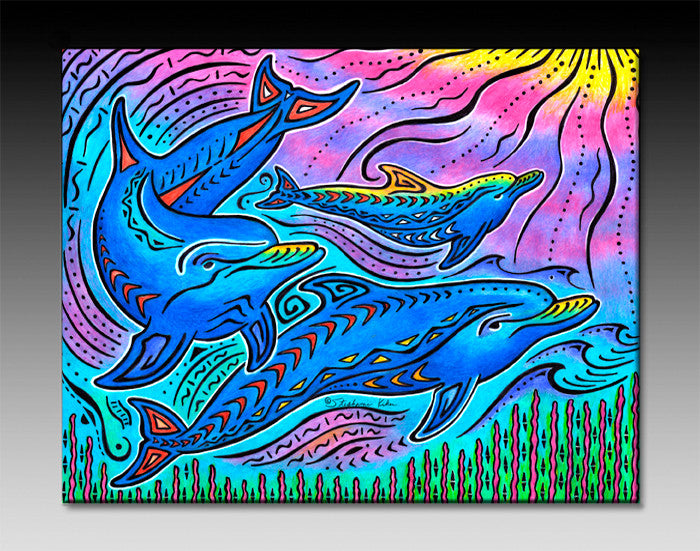 3 Dolphins Ceramic Tile