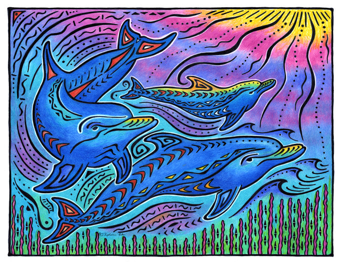 3 Dolphins Print