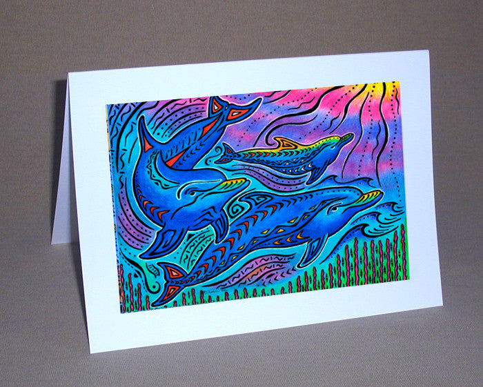 3 Dolphins Notecard