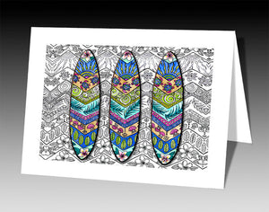 3 Surf Boards Notecard