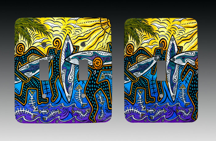 3 Surfers Light Switch Cover