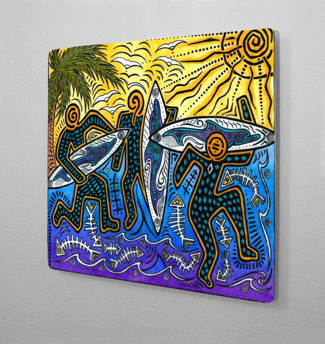 3 Surfers Aluminum Wall Art