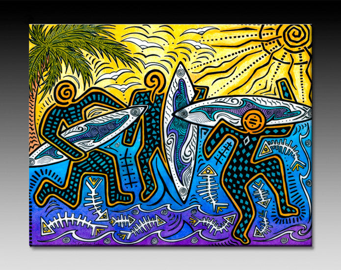 3 Surfers Ceramic Tile