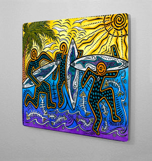 Primitive Surfers Aluminum Wall Art