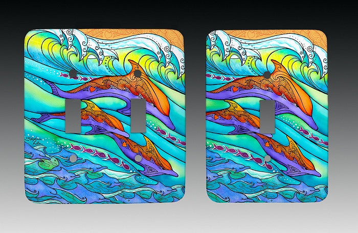 3 Dolphins Light Switch Cover by Hatteras Island NC Artist Stephanie