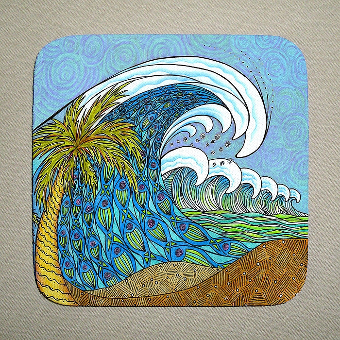 Palm Trees and Waves Coaster