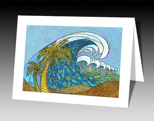 Palm Trees and Waves Notecard