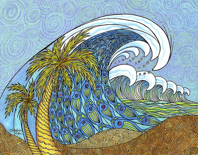 Palm Trees and Waves Print
