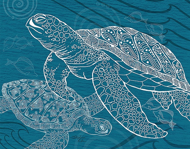 Sea Turtles One Color Print