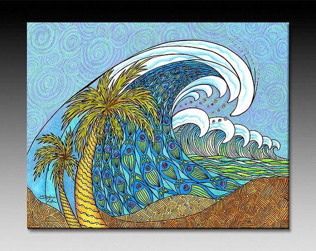 Palm Trees and Waves Ceramic Tile