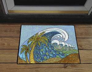 Palm Trees and Waves Door Mat
